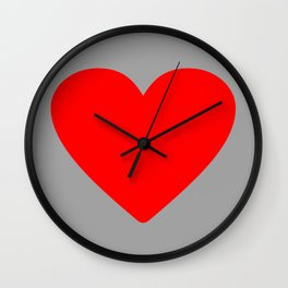Red heart in grey Wall Clock