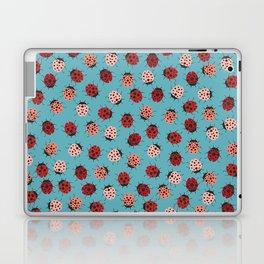 All over Modern Ladybug on Blue Background Laptop & iPad Skin