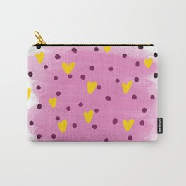 Abstract yellow hearts in blue watercolour brushes and black dots around Carry-All Pouch