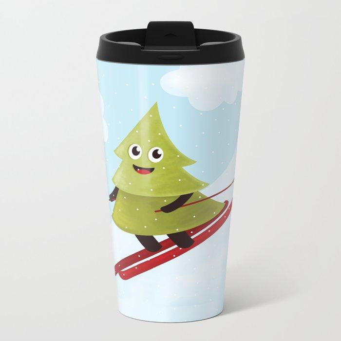 Happy Pine Tree on Ski Metal Travel Mug