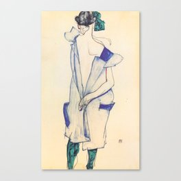 "Egon Schiele ""Rückenansicht eines Mädchens im blauen Rock (Back view of  a girl in a blue dress)"" Canvas Print"