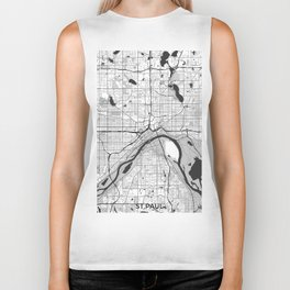 St Paul Map Gray Biker Tank