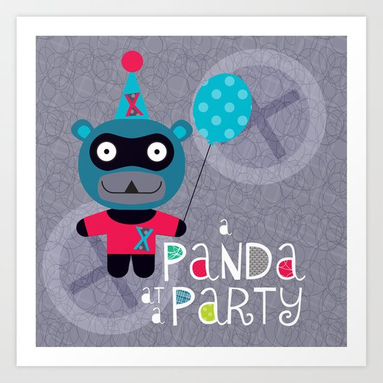 Party Panda (grey) Art Print