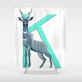 K is for Kudu Letter Alphabet Decor Design Art Pattern Shower Curtain