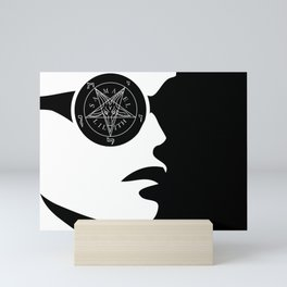 Girl with wiccan symbol- sigil of baphomet Mini Art Print