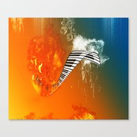 piano Canvas Prints featuring Piano by nicky2342