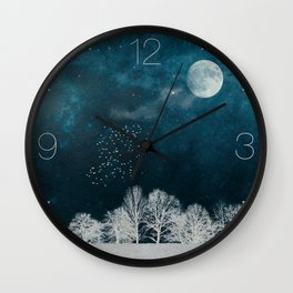 Night in Blue and White Wall Clock