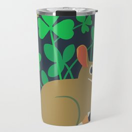 Cottontail Rabbit + Wood-sorrel + Red Clover + Buttercup Travel Mug