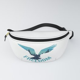 Patriotic Eagle With Mountains Background - USA Freedom Fanny Pack