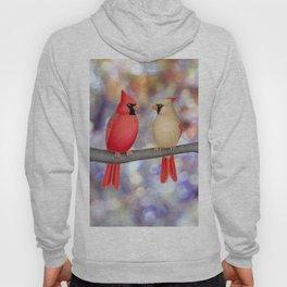 cardinals on a branch - bokeh Hoody