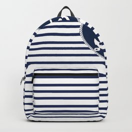 Modern navy blue white heart anchor nautical stripes Backpack