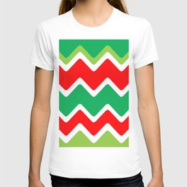 Christmas Red and Green Wave T-shirt