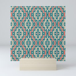 Fragmented Diamond Pattern in Teal, Coral and Tan Mini Art Print
