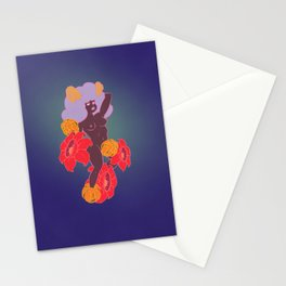 Horned Girl with Flowers Stationery Cards