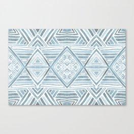 Mirror Pattern Tribal Style - blue & gray Canvas Print