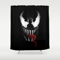 venom Shower Curtains featuring Venom, Spider man Enemie by Marcos Raya Delgado
