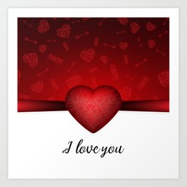 Valentines day background with red heart and Cupids arrow and I love you text Art Print