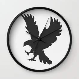 vector silhouette flying eagle on a white background Wall Clock