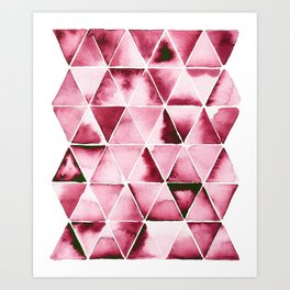 Abstract triangles in deep red Art Print