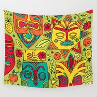 tiki Wall Tapestries featuring Tiki tiki by Binnyboo