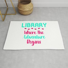 Library Where The Adventure Begins Facts Quote Rug