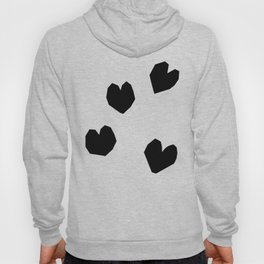 Love Yourself no.2 - black heart pattern love art black and white illustration Hoody