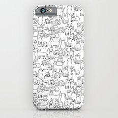 Funny sketchy white kitty cats iPhone 6s Slim Case