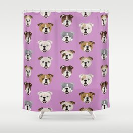 English Bulldog faces cute dog art pet portrait must have gifts for english bulldog owners Shower Curtain