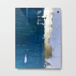 Rain [1]: a minimal, abstract mixed-media piece in blues, white, and gold by Alyssa Hamilton Art Metal Print