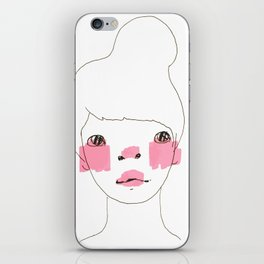 Line Drawing of a Girl in Neon  iPhone Skin