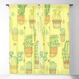 cheerful yellow cactus Blackout Curtain