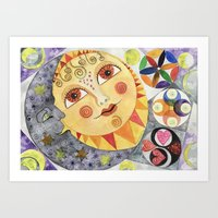 Sun, Moon and Stars Watercolor Art Print
