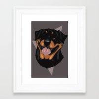 rottweiler Framed Art Prints featuring Rottweiler by Mickeyila Studios