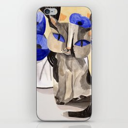 Cat with Blue Poppies iPhone Skin