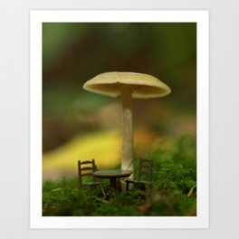 Mushroom With Tiny Table & Chairs... Art Print