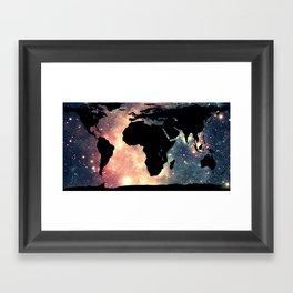 World Map Mauve & Teal Space Framed Art Print