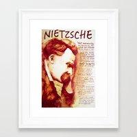 nietzsche Framed Art Prints featuring Nietzsche by Chris Hall Art