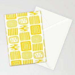Retro Mid Century Modern Check Pattern 357 Yellow Stationery Cards