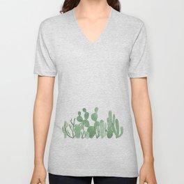 Green cactus garden Unisex V-Neck