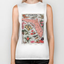 Vintage Map of Florida (1917) Biker Tank