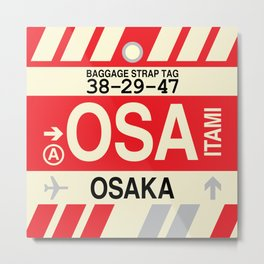 OSA Osaka • Airport Code and Vintage Baggage Tag Design Metal Print