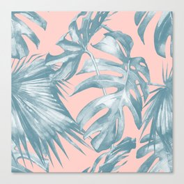 Tropical Leaves Ocean Blue on Coral Pink Canvas Print