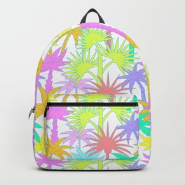 Retro Palm Trees in White Backpack