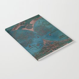 Rose gold and teal antique world map with sail ships Notebook