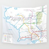 middle earth Wall Tapestries featuring Middle Earth Transit Map by mehmetikberker
