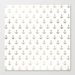 Elegant nautical faux gold white modern anchor Canvas Print