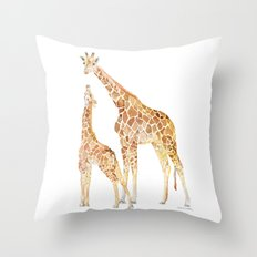 Mother and Baby Giraffes Throw Pillow