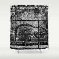 london map Shower Curtains featuring London Map by Le petit Archiviste