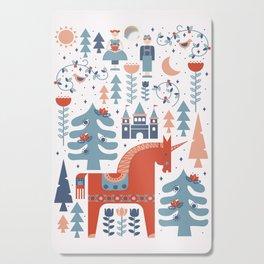 Scandinavian Inspired Folkstory - Red + Blue Cutting Board