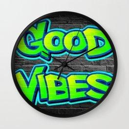 Good Vibes Graffiti Wall Clock
